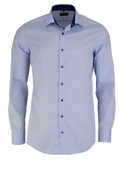 ETERNA Slim Fit Hemd Langarm New Kent Kragen Stretch hellblau