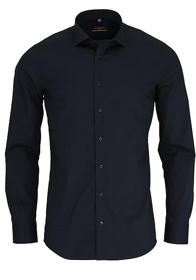 ETERNA Slim Fit Hemd Langarm New Kent Stretch schwarz