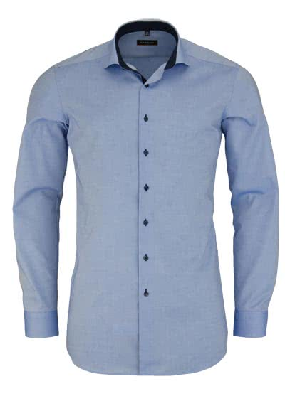 ETERNA Slim Fit Hemd super langer Arm Patch Oxford mittelblau