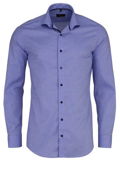 ETERNA Slim Fit Hemd super langer Arm Stretch Muster blau