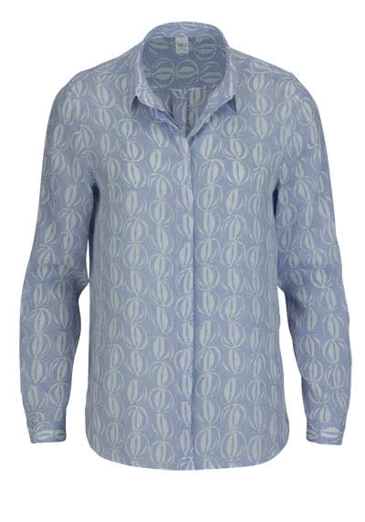 ETERNA Modern Fit Bluse Langarm Hemdkragen Muster hellblau - Hemden Meister