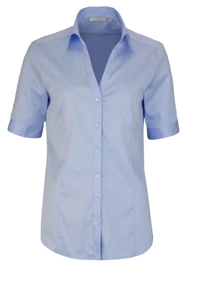 ETERNA Comfort Fit Bluse Halbarm offener Kragen hellblau - Hemden Meister