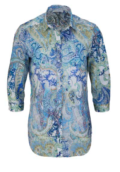 ETERNA Comfort Fit Bluse 3/4 Arm Hemdkragen Muster blau - Hemden Meister
