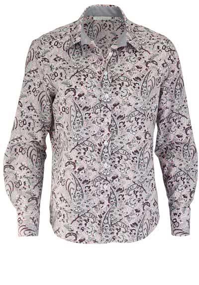 ETERNA Comfort Fit Bluse Langarm Hemdenkragen mit Besatz Muster rosa - Hemden Meister