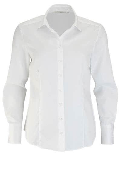 ETERNA Comfort Fit Bluse Langarm Hemdenkragen Herzstruktur weiß - Hemden Meister