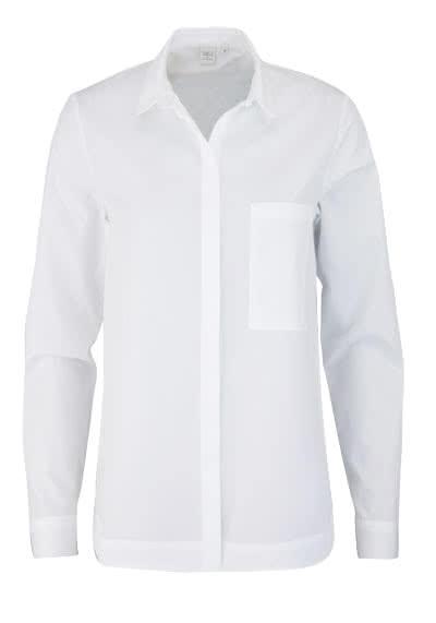 ETERNA Modern Fit Bluse Langarm Hemdenkragen Brusttasche weiß - Hemden Meister