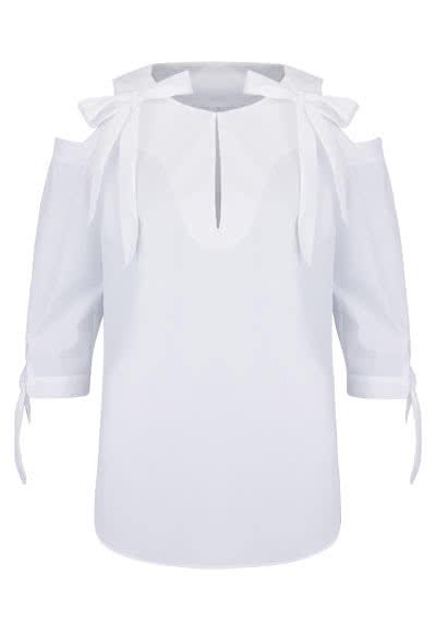 ETERNA Modern Fit Bluse 3/4 Arm Schulter Cut Out weiß - Hemden Meister