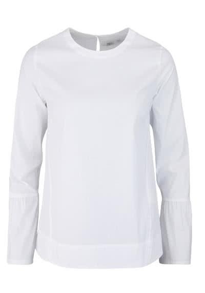 ETERNA Modern Fit Bluse Langarm Rundhals Volant Ärmel weiß - Hemden Meister
