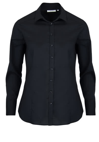 ETERNA Slim Fit Bluse Langarm Hemdenkragen Stretch schwarz - Hemden Meister