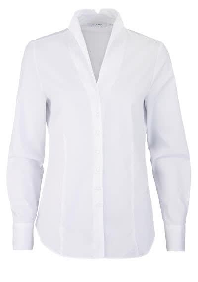 ETERNA Comfort Fit Bluse Langarm Kelchkragen Struktur weiß - Hemden Meister