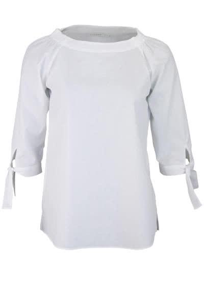 ETERNA Comfort Fit Bluse 3/4 Arm Rundhals Bänder am Ärmel weiß - Hemden Meister