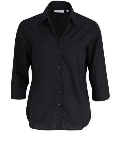 ETERNA Comfort Fit Bluse 3/4 Arm mit offenem Kragen schwarz - Hemden Meister