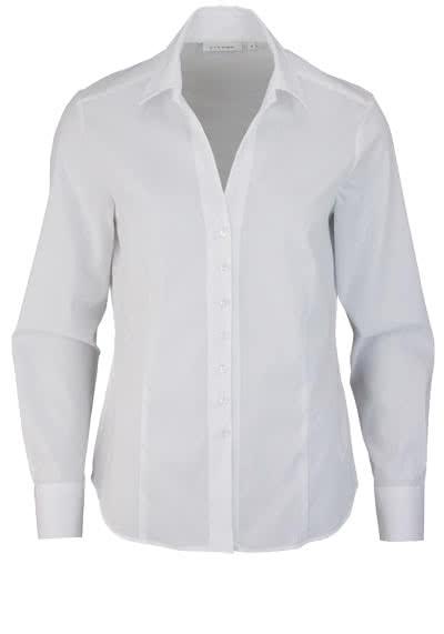 ETERNA Comfort Fit Bluse Langarm offener Kragen Stretch weiß - Hemden Meister