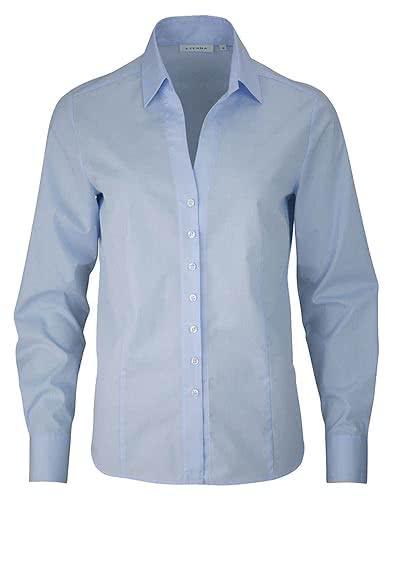 ETERNA Comfort Fit Bluse Langarm offener Kragen hellblau - Hemden Meister