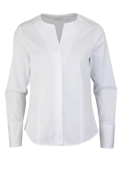 ETERNA Comfort Fit Bluse Langarm offener Kragen weiß - Hemden Meister