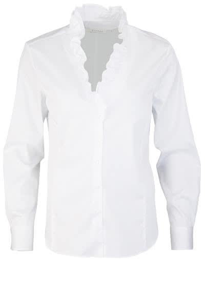 ETERNA Comfort Fit Bluse Langarm Rüschenkragen Stretch weiß - Hemden Meister