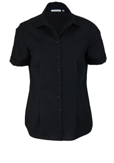ETERNA Comfort Fit Bluse Halbarm Hemdenkragen swiss+cotton schwarz - Hemden Meister