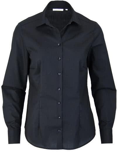ETERNA Comfort Fit Bluse Langarm Hemdenkragen swiss+cotton schwarz - Hemden Meister