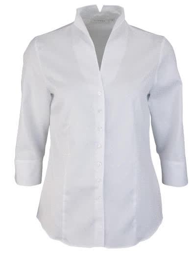 ETERNA Comfort Fit Bluse 3/4 Arm Kelchkragen Punktestruktur weiß - Hemden Meister