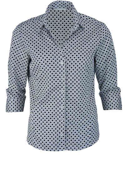 ETERNA Comfort Fit Bluse 3/4 Arm offener Kragen Muster schwarz - Hemden Meister