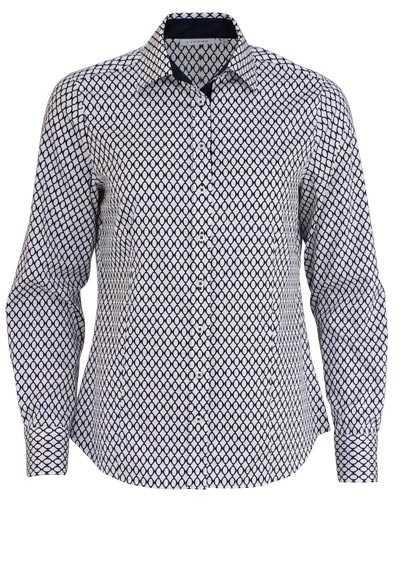 ETERNA Comfort Fit Bluse Langarm Hemdkragen Muster nachtblau - Hemden Meister