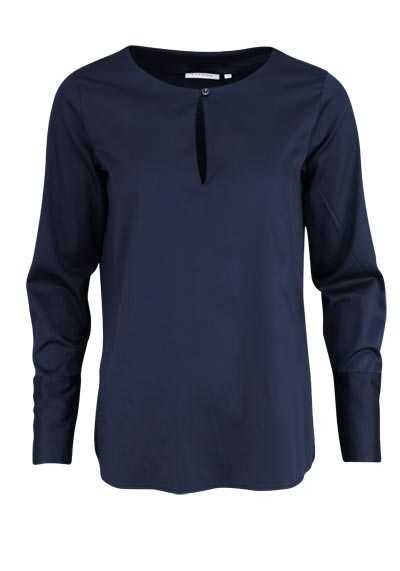 ETERNA Comfort Fit Bluse Langarm Rundhals Stretch nachtblau - Hemden Meister