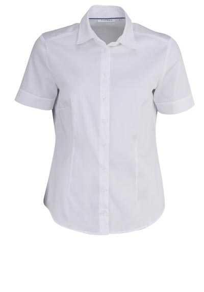 ETERNA Comfort Fit Bluse Halbarm Hemdenkragen Stretch weiß - Hemden Meister