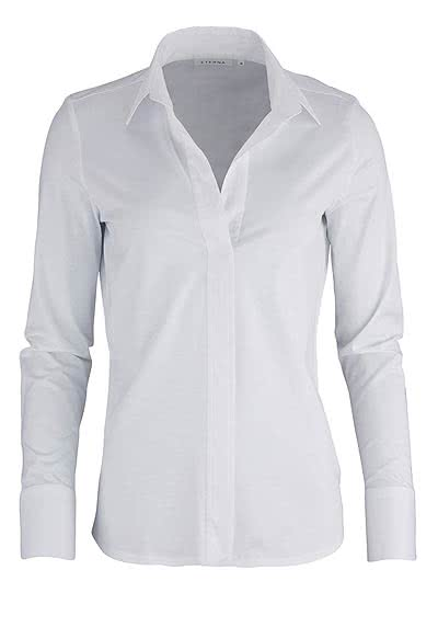 ETERNA Comfort Bluse Langarm offener Kragen Jersey weiß - Hemden Meister
