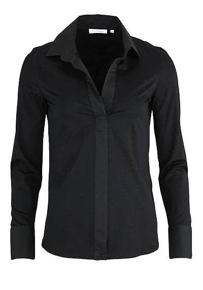 ETERNA Comfort Bluse Langarm offener Kragen Jersey schwarz - Hemden Meister