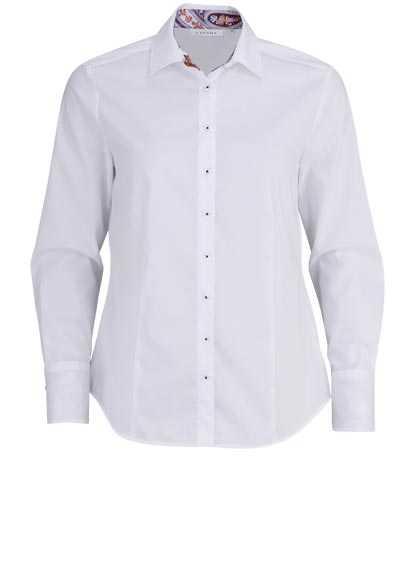 ETERNA Comfort Fit Bluse Langarm Hemdenkragen mit Besatz Stretch weiß - Hemden Meister