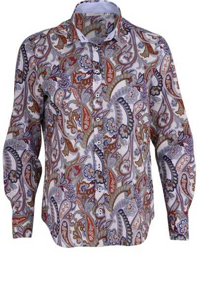 ETERNA Comfort Fit Bluse Langarm Hemdenkragen mit Besatz Muster blau - Hemden Meister