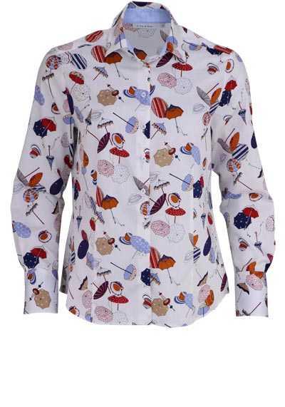 ETERNA Comfort Fit Bluse Langarm Hemdenkragen mit Besatz Muster rot - Hemden Meister