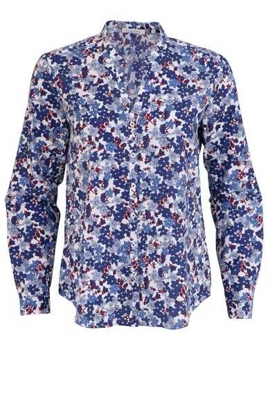 ETERNA Comfort Fit Bluse Langarm offener Kragen Muster blau - Hemden Meister