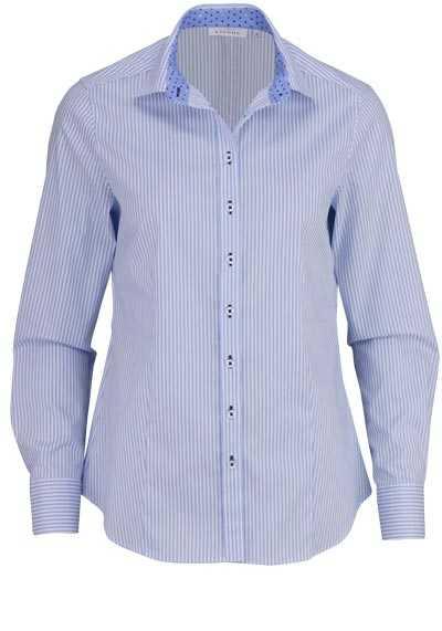 ETERNA Comfort Fit Bluse Langarm Hemdenkragen Streifen hellblau - Hemden Meister