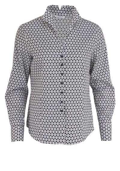 ETERNA Comfort Fit Bluse Langarm Kelchkragen Muster schwarz - Hemden Meister