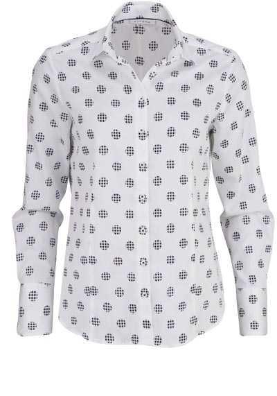 ETERNA Comfort Fit Bluse Langarm Hemdenkragen Muster weiß - Hemden Meister