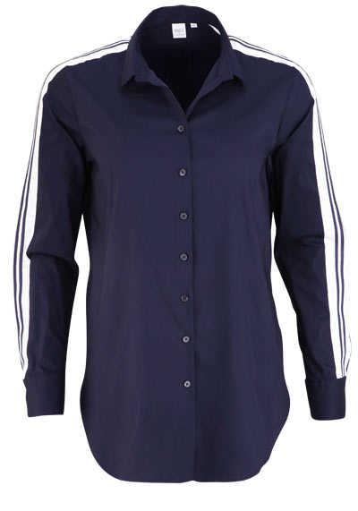 ETERNA Modern Fit Bluse Langarm Hemdenkragen Stretch nachtblau - Hemden Meister
