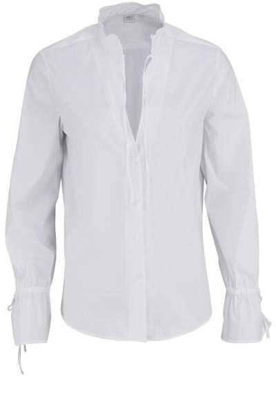 ETERNA Modern Fit Bluse Langarm offener Kragen mit Bänder Stretch weiß - Hemden Meister