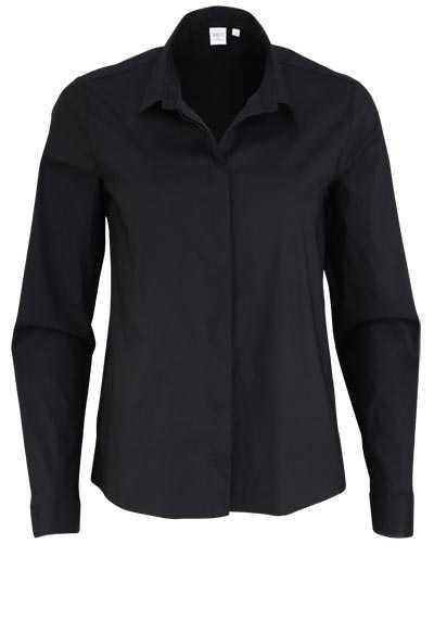 ETERNA Modern Fit Bluse Langarm Hemdenkragen Stretch schwarz - Hemden Meister