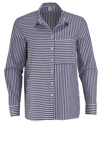 ETERNA Modern Fit Bluse Langarm Hemdenkragen Streifen dunkelblau - Hemden Meister