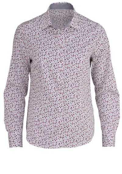 ETERNA Comfort Fit Bluse Langarm Hemdenkragen mit Besatz Muster beere - Hemden Meister
