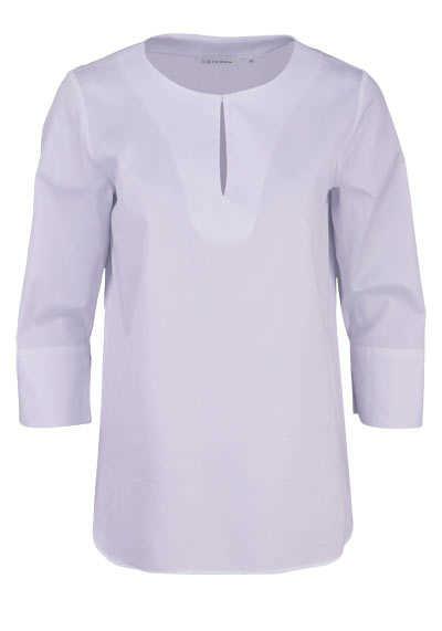 ETERNA Modern Fit Bluse 3/4 Arm Rundhals Stretch weiß - Hemden Meister