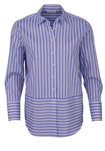 ETERNA Modern Fit Bluse Langarm Streifen mittelblau - Hemden Meister
