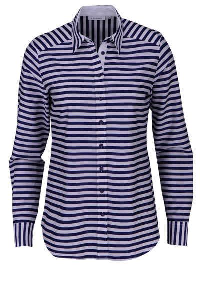 ETERNA Modern Fit Bluse Langarm Hemdkragen Ringel nachtblau - Hemden Meister