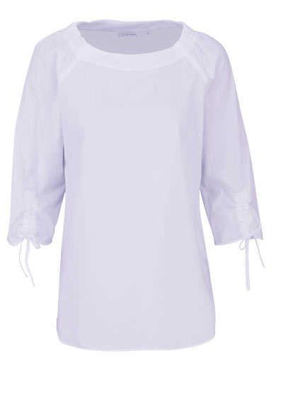 ETERNA Modern Fit Bluse 3/4 Arm Rundhals Bänder am Ärmel weiß - Hemden Meister