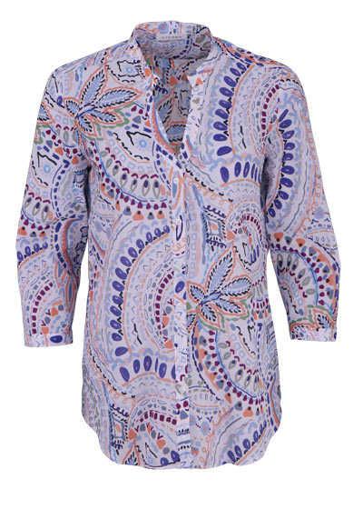 ETERNA Modern Fit Bluse Langarm offener Kragen Muster dunkelblau - Hemden Meister