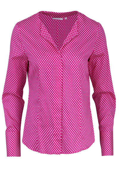 ETERNA Modern Fit Bluse Langarm offener Kragen Muster pink - Hemden Meister