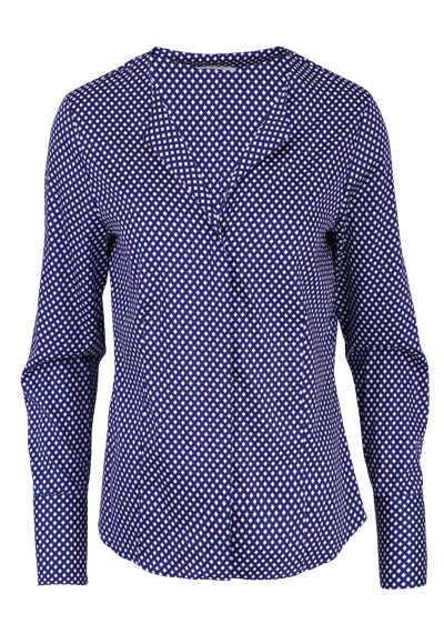 ETERNA Modern Fit Bluse Langarm offener Kragen Muster nachtblau - Hemden Meister