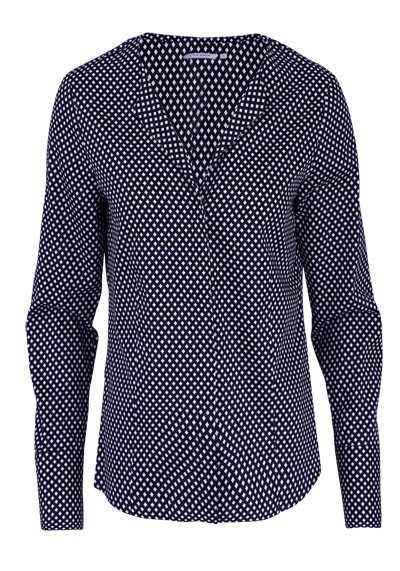 ETERNA Modern Fit Bluse Langarm offener Kragen Muster schwarz - Hemden Meister