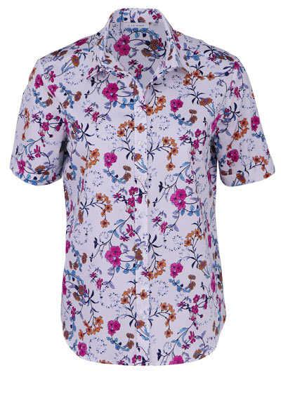 ETERNA Modern Fit Bluse Halbarm Hemdkragen Muster blau - Hemden Meister